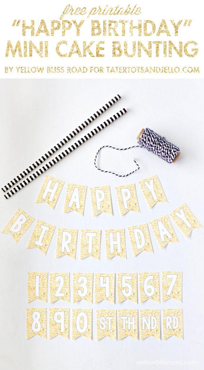 Free Printable Happy Birthday Mini Cake Bunting   Pinterest Best - Free Printable Pictures Of Birthday Cakes