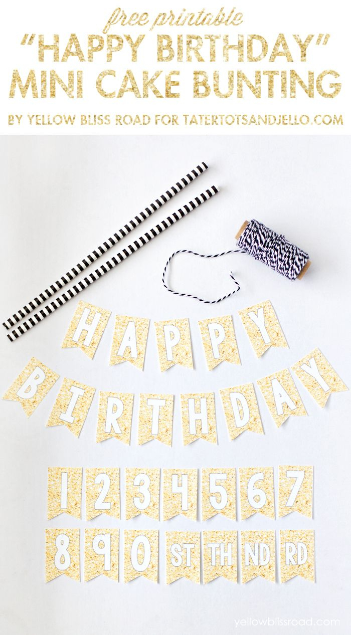 Free Printable Happy Birthday Mini Cake Bunting | Wantneedlove - Free Printable Happy Birthday Cake Topper