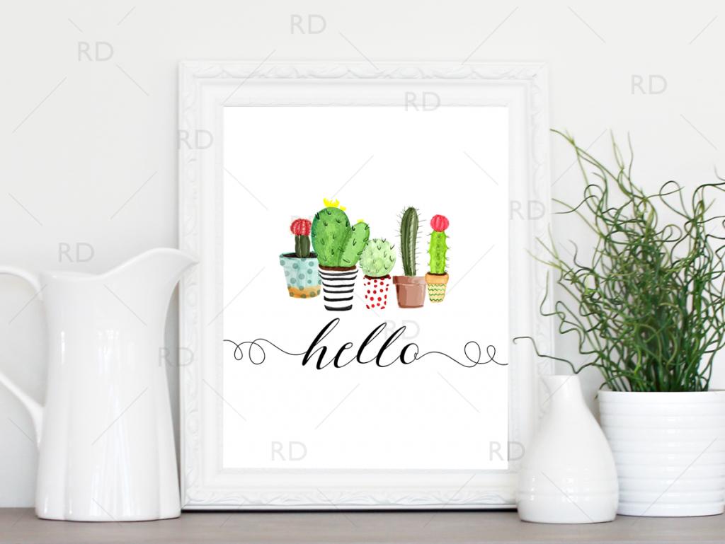 Free Printable! Hello Cactus Printable | Riss Home Design | Home - Free Printable Cactus