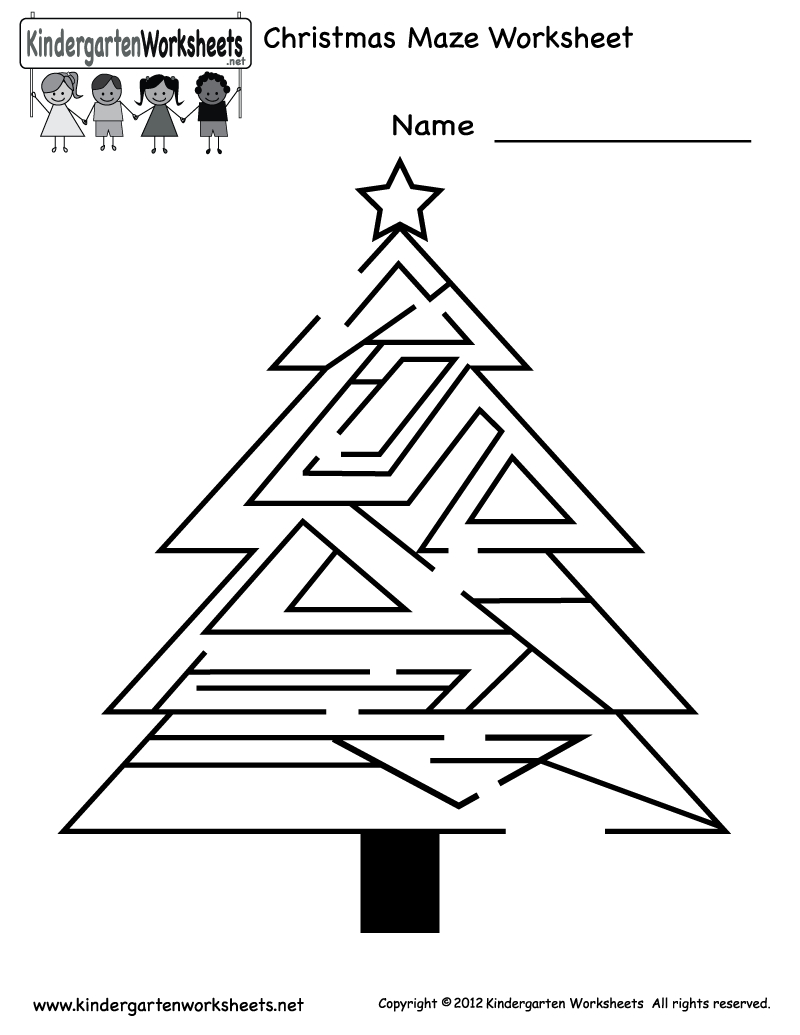 Free Printable Holiday Worksheets | Kindergarten Christmas Maze - Free Printable Holiday Worksheets