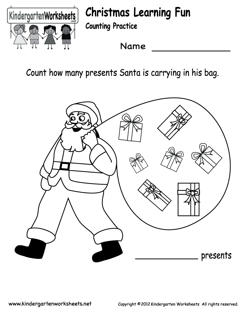Free Printable Holiday Worksheets | Kindergarten Santa Counting - Free Printable Holiday Worksheets