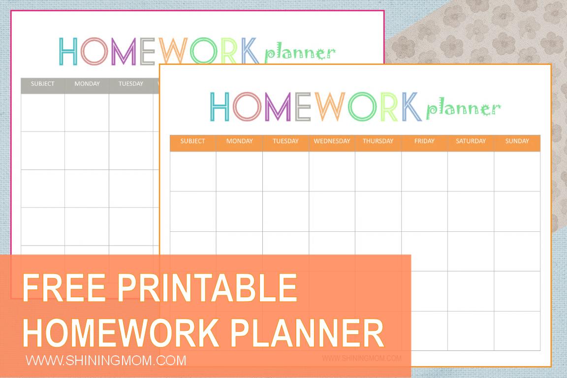 Free Printable: Homework Planner - Free Printable Homework Templates