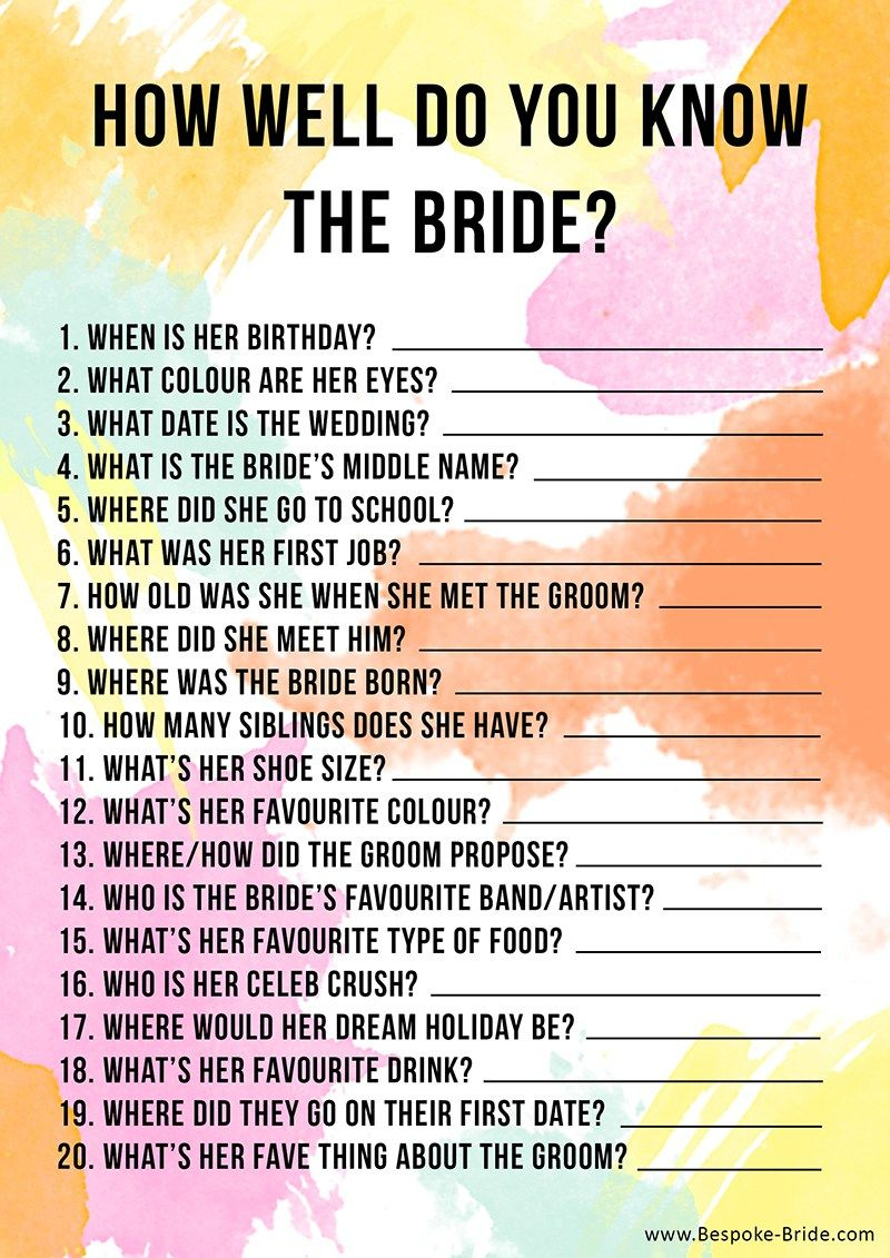 Free Printable 'how Well Do You Know The Bride?' Hen Party & Bridal - How Well Do You Know The Bride Free Printable