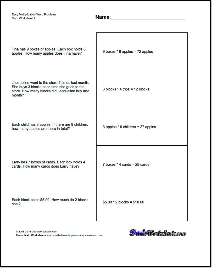 Free Printable Introductory Word Problem Worksheets For Addition For - Free Printable Math Word Problems For 2Nd Grade