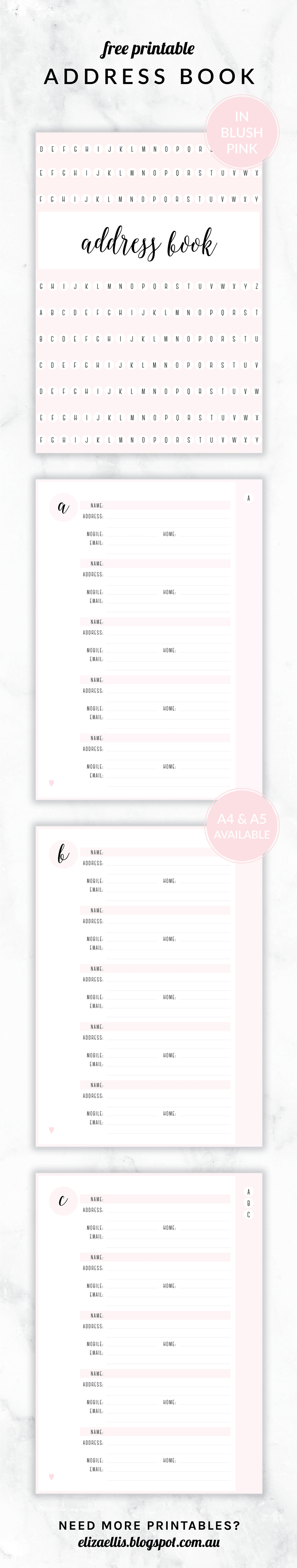 Free Printable Irma Address Book // Eliza Ellis. Available In 6 - Free Printable Address Book