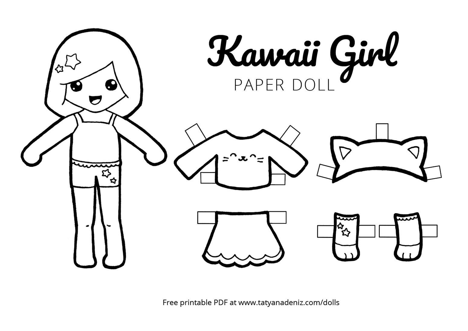 Free Printable Kawaii Paper Dolls Colouring Pages - Free Printable Paper Doll Coloring Pages