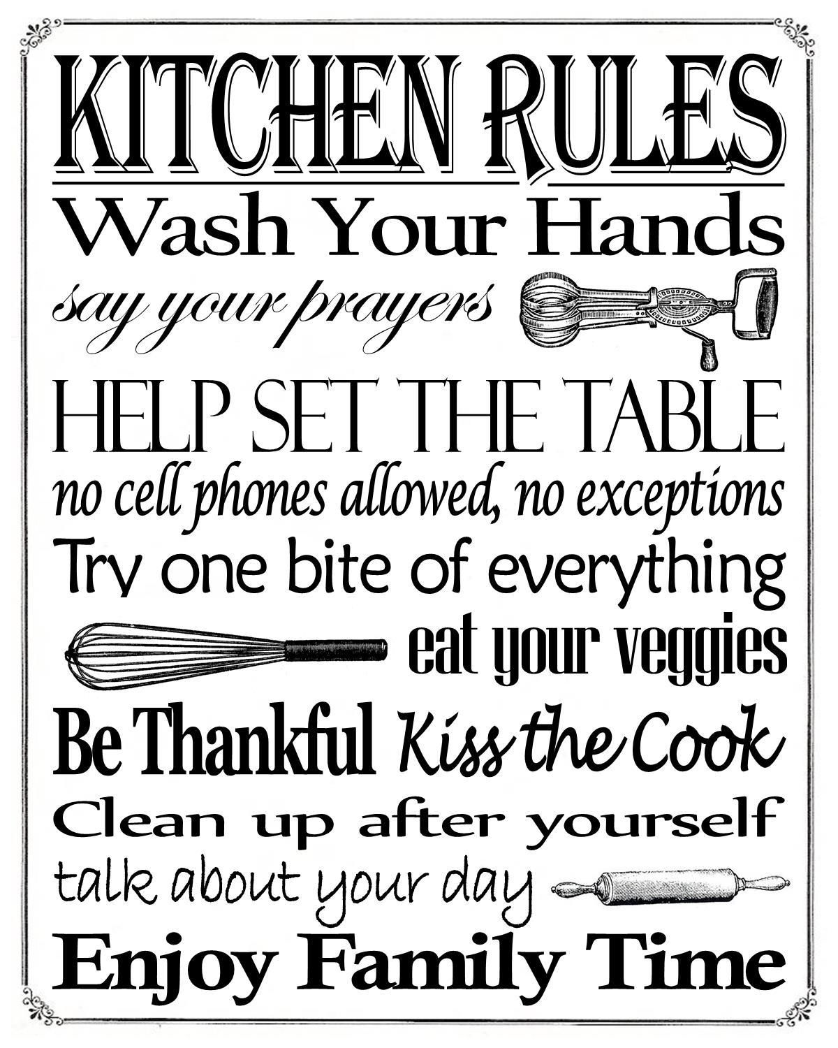 """Free Printable """"kitchen Rules"""" 8"""" X 10"""" Sign 