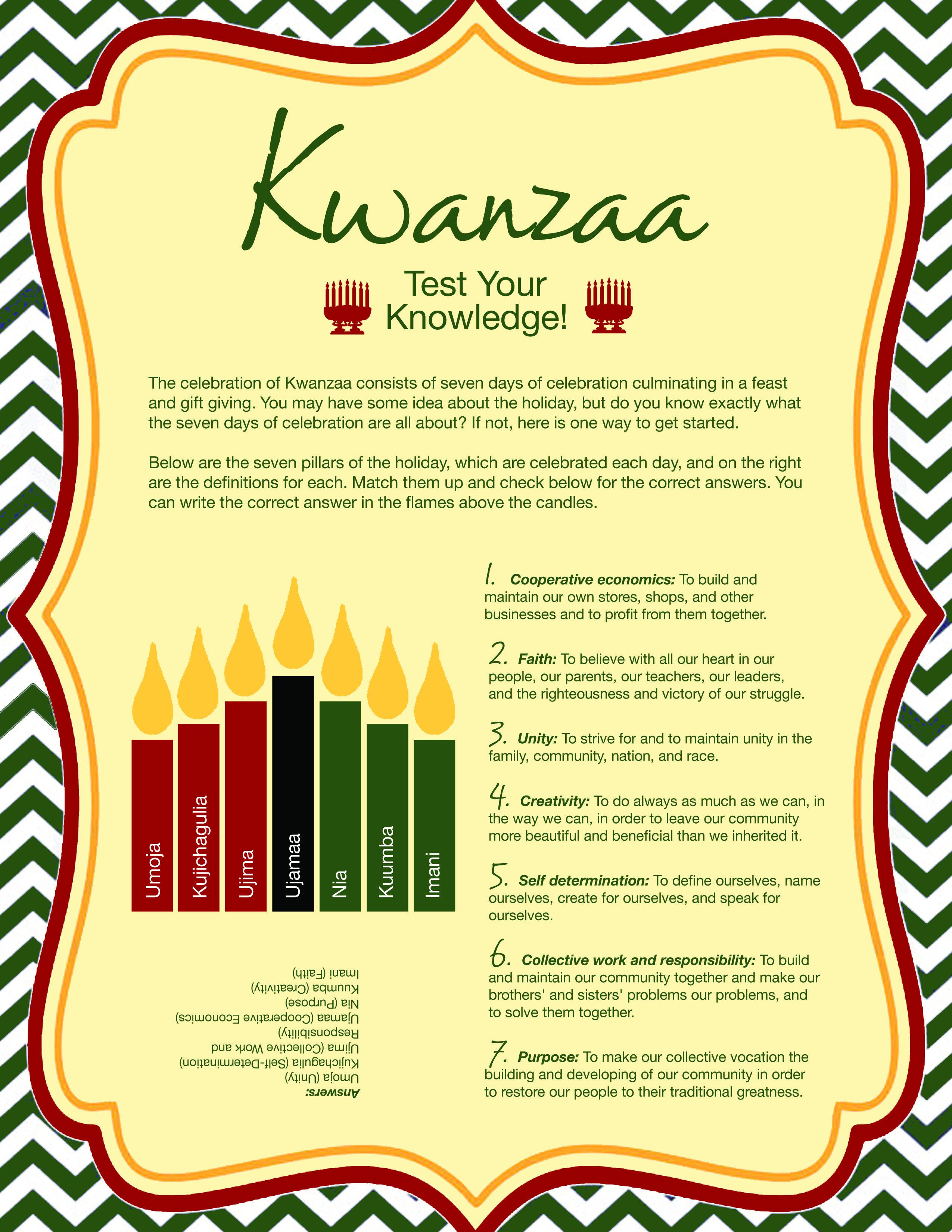 Free Printable Kwanzaa Quiz | Celebrate Kwanzaa!!! | Kwanzaa, Happy - Kwanzaa Trivia Free Printable