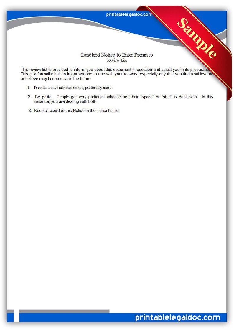 Free Printable Landlord, Notice To Enter Premises Legal Forms | Free - Find Free Printable Forms Online