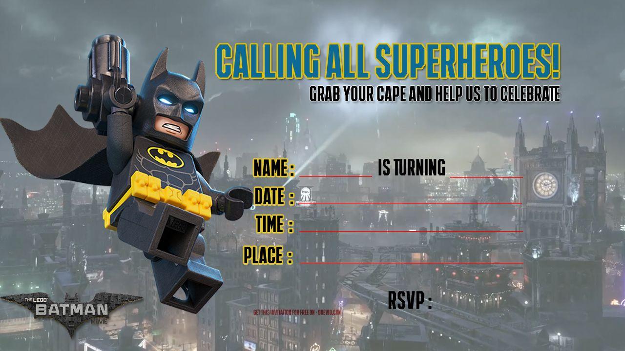 Free Printable Lego Batman The Movie Invitation   Free Printable - Lego Batman Invitations Free Printable