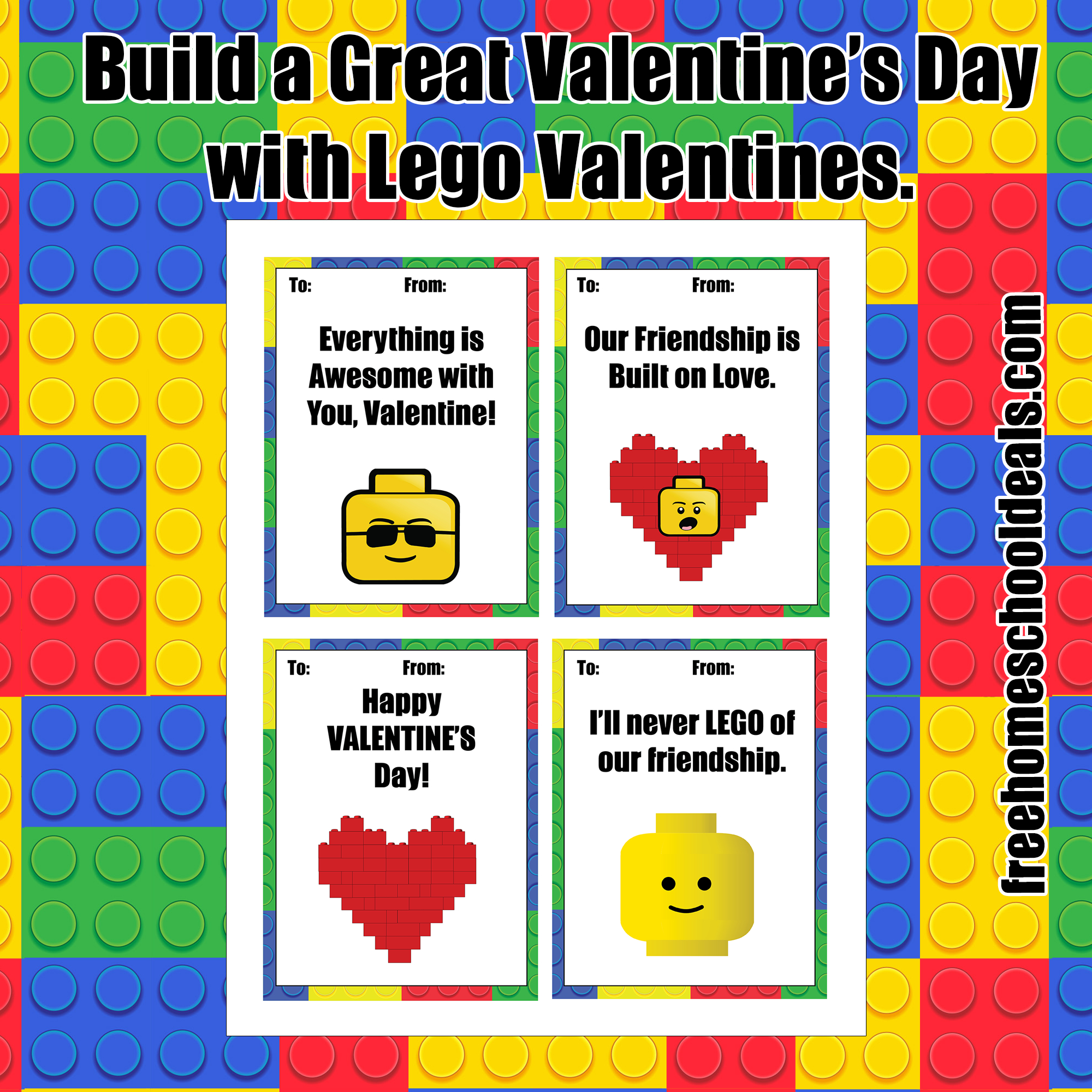 Free Printable Lego Valentines! (Instant Download) | Free Homeschool - Free Printable Lego Star Wars Valentines