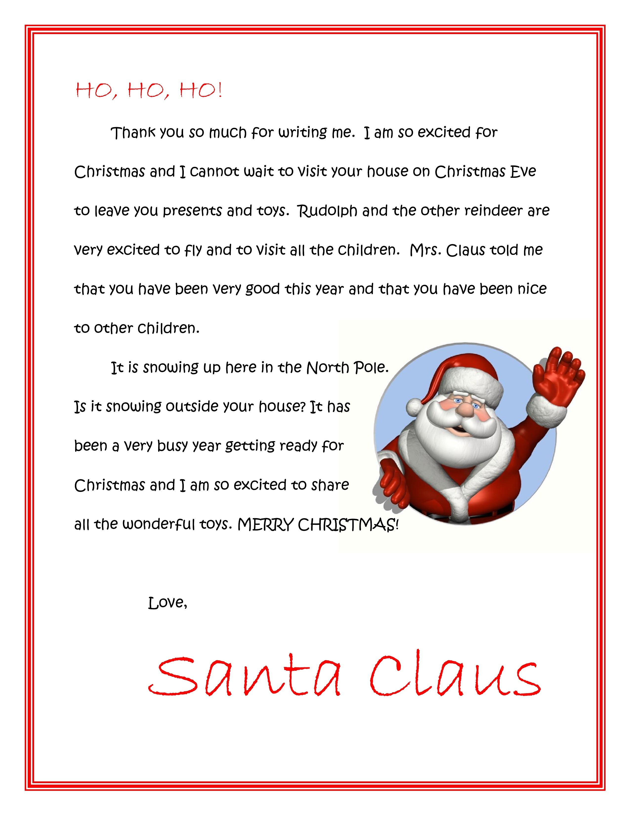 Free Printable Letter From Santa On Christmas Morning Fresh Santa - Free Printable Christmas Letters From Santa