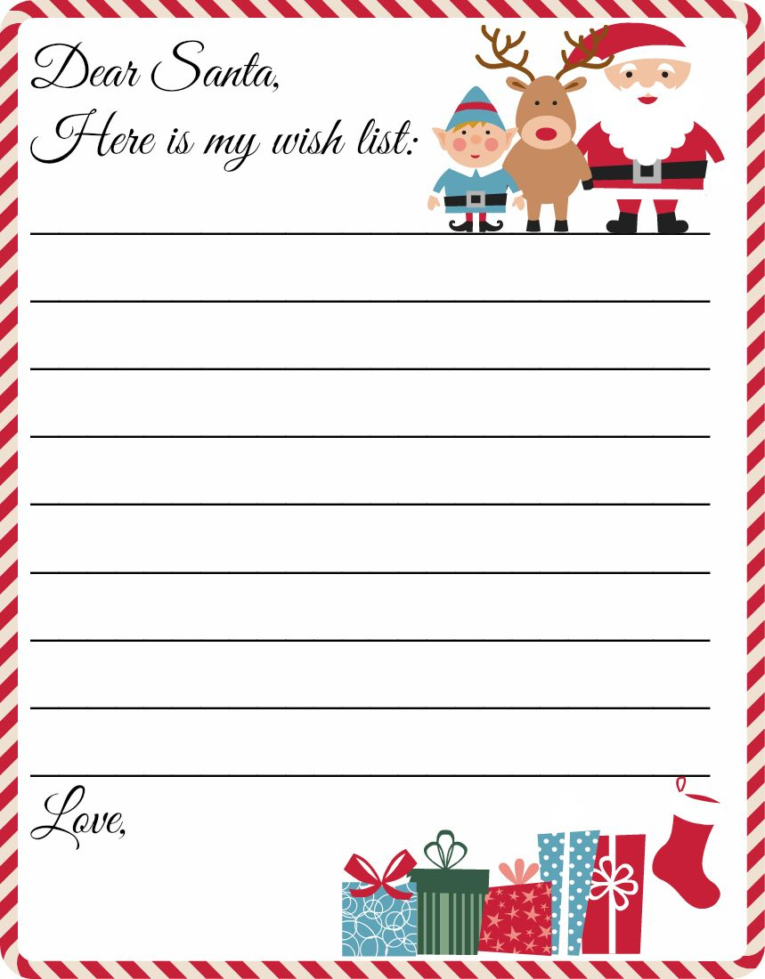 Free Printable Letter To Santa Template ~ Cute Christmas Wish List - Free Santa Templates Printable