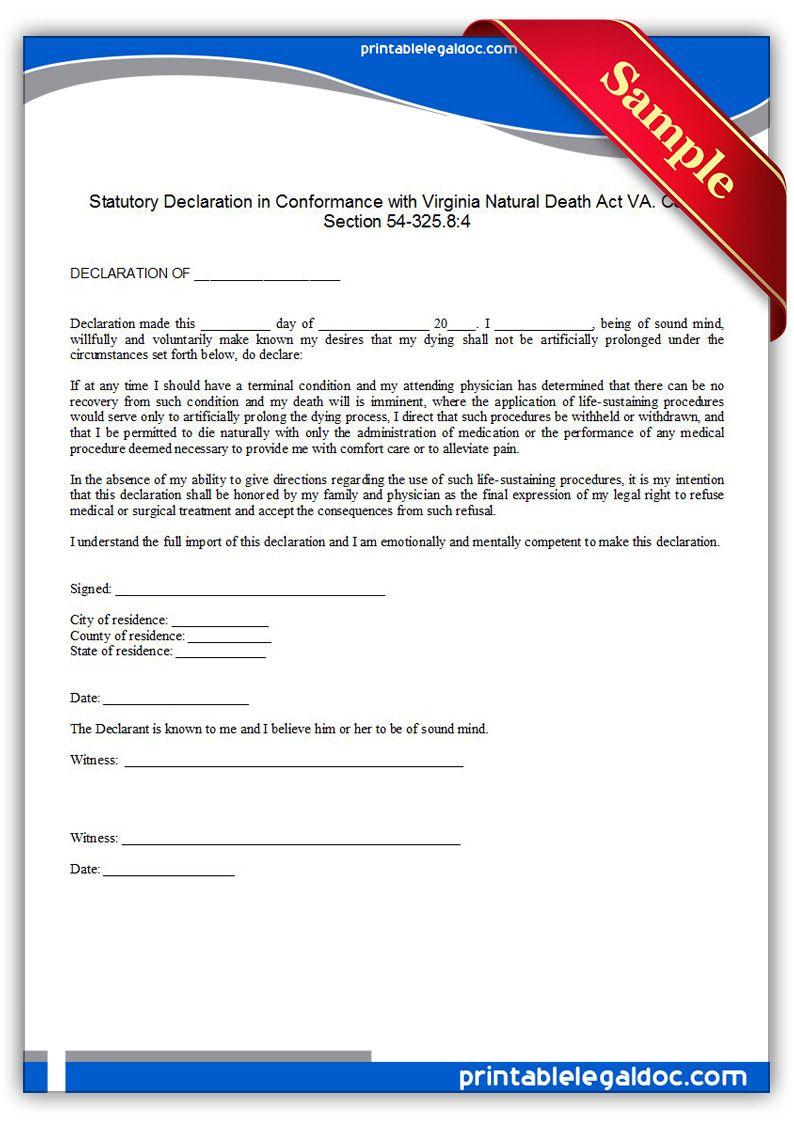 Free Printable Life Sustaining Statute, Virginia Legal Forms | Free - Free Legal Forms Online Printable