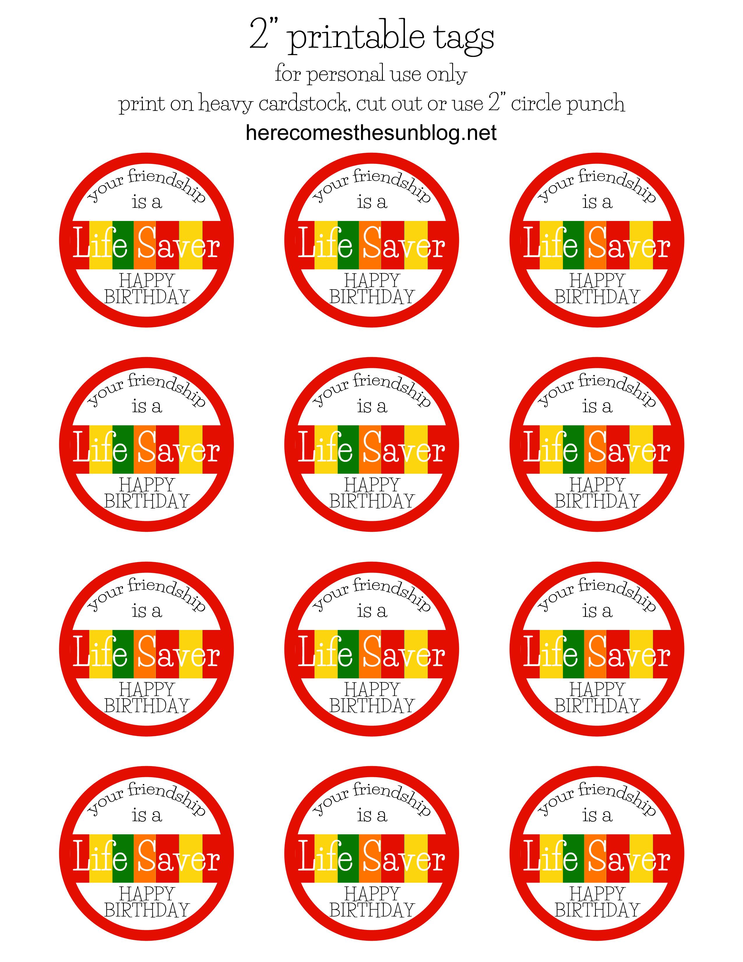 Free Printable Lifesaver Tags - All Free Tag Designs - Free Printable Lifesaver Tags