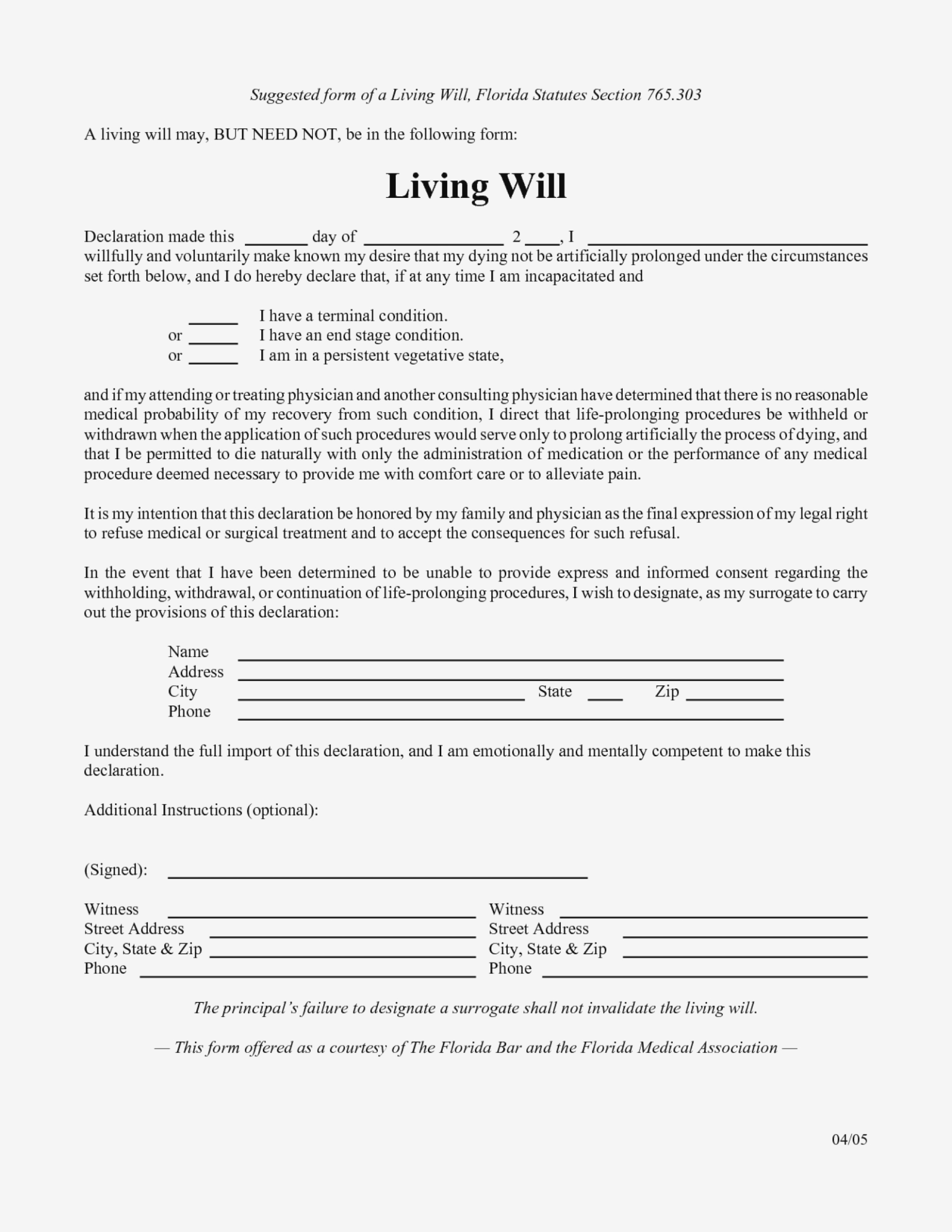 Free Printable Living Will Forms Florida 10 To Print Form .. – Form - Free Printable Living Will