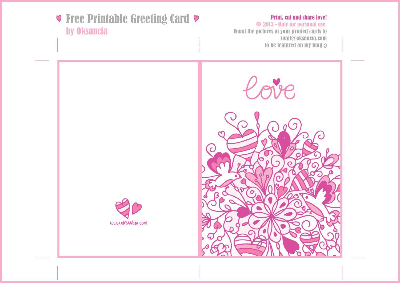 Free Printable Love Card Templates - Free Printable Love Greeting Cards