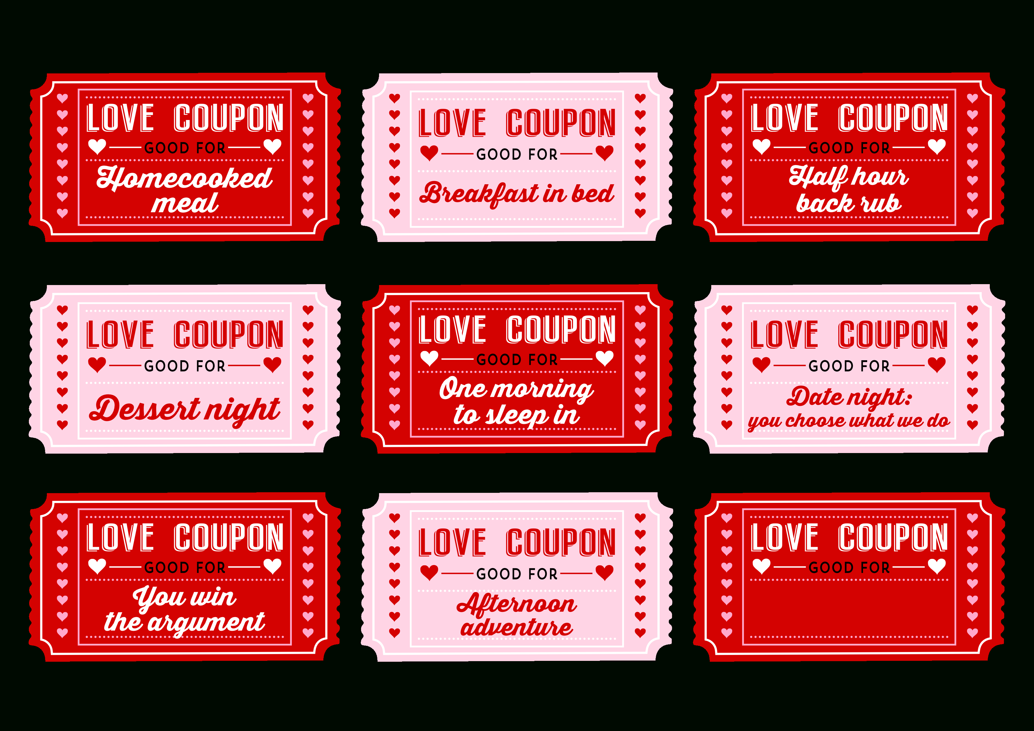 Free Printable Love Coupons For Couples On Valentine's Day! | Catch - Free Printable Love Coupons
