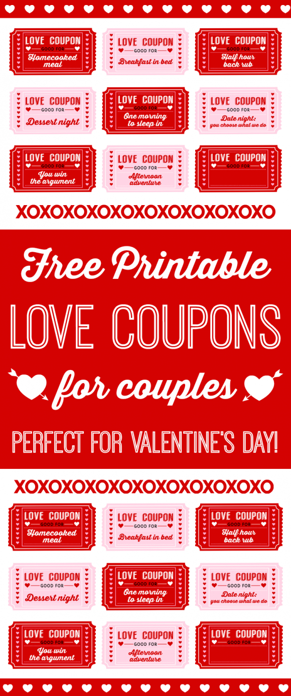Free Printable Love Coupons For Couples On Valentine's Day - Free Printable Love Coupons