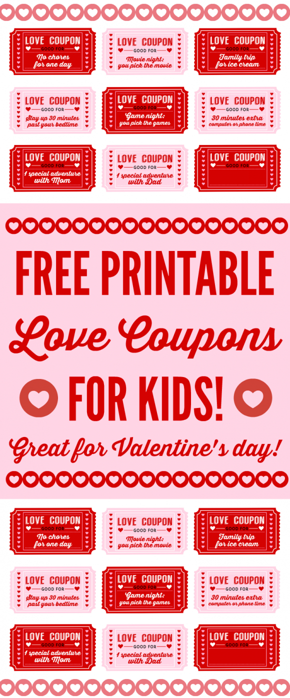 Free Printable Love Coupons For Kids On Valentine's Day - Free Printable Coupons For Husband