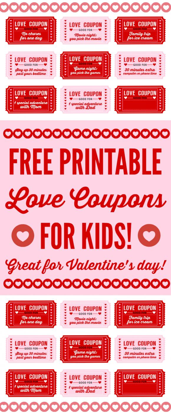 Free Printable Love Coupons For Kids On Valentine's Day - Free Printable Love Coupons