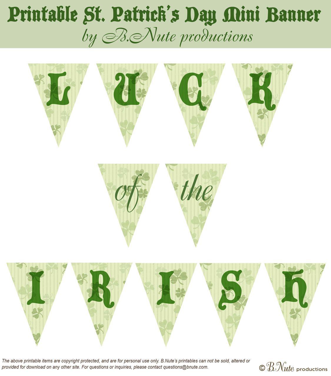 Free Printable Luck Of The Irish St. Patrick's Day Mini Bannerb - Free Printable St Patrick's Day Banner