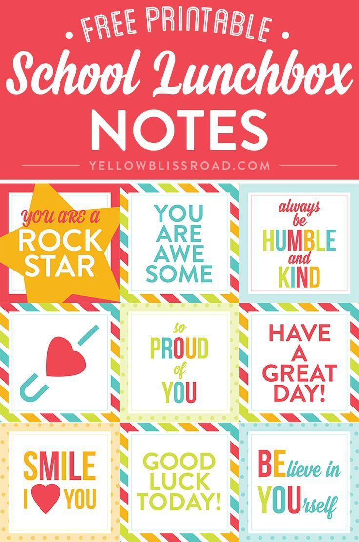 Free Printable Lunch Box Notes   Creative Diy And Crafts Exchange - Free Printable School Notes