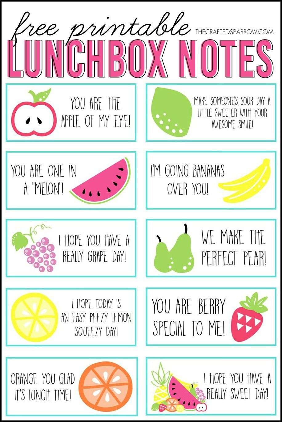 Free Printable Lunchbox Notes, 3 Full Pages To Print - Free Printable Lunchbox Notes