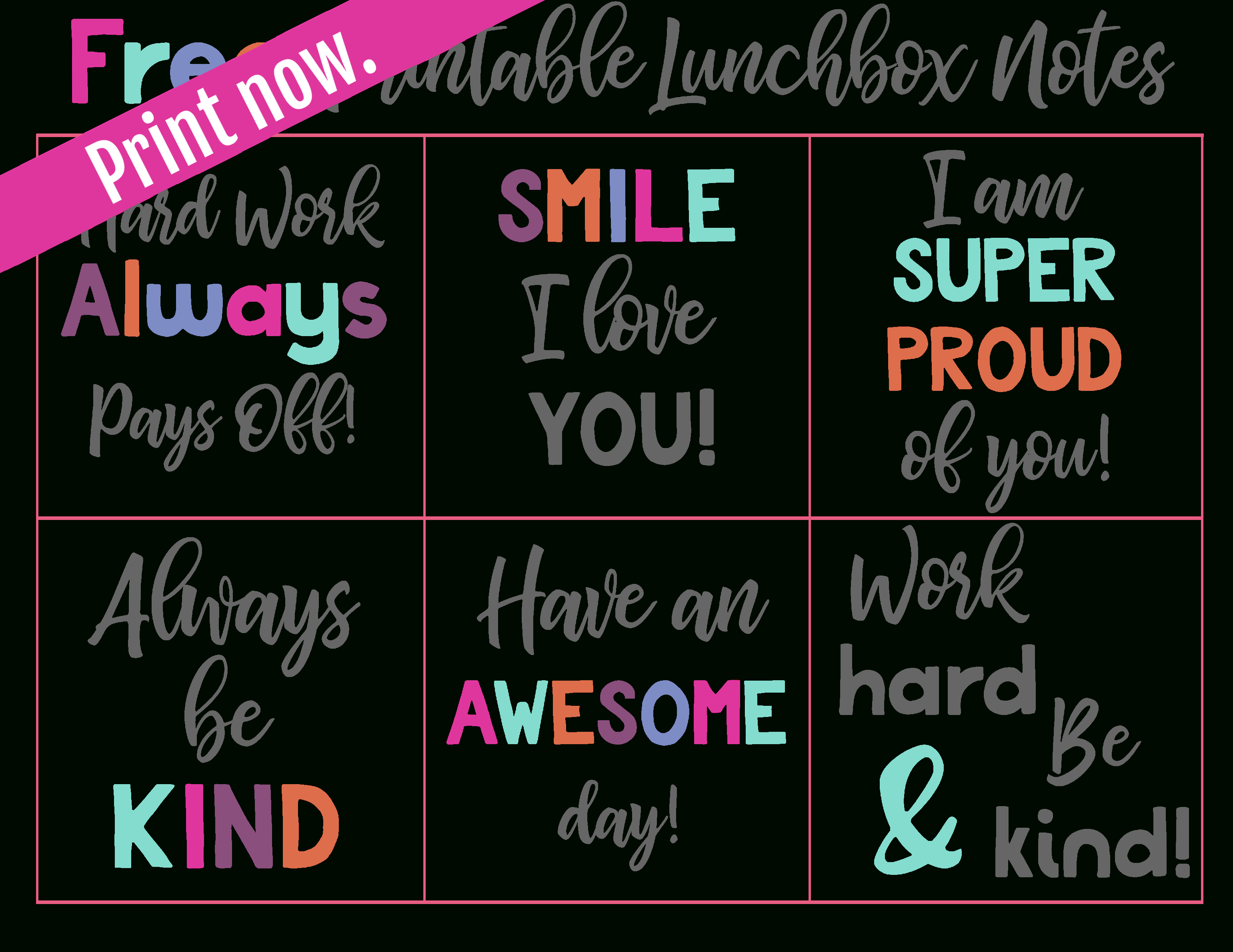 Free Printable Lunchbox Notes | Simply Being Mommy | Free Printables - Free Printable Lunchbox Notes