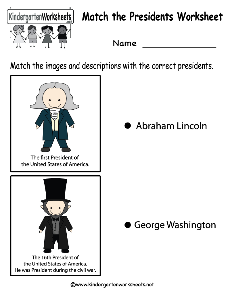 Free Printable Match The Presidents Worksheet For Kindergarten - Free Printable President Worksheets