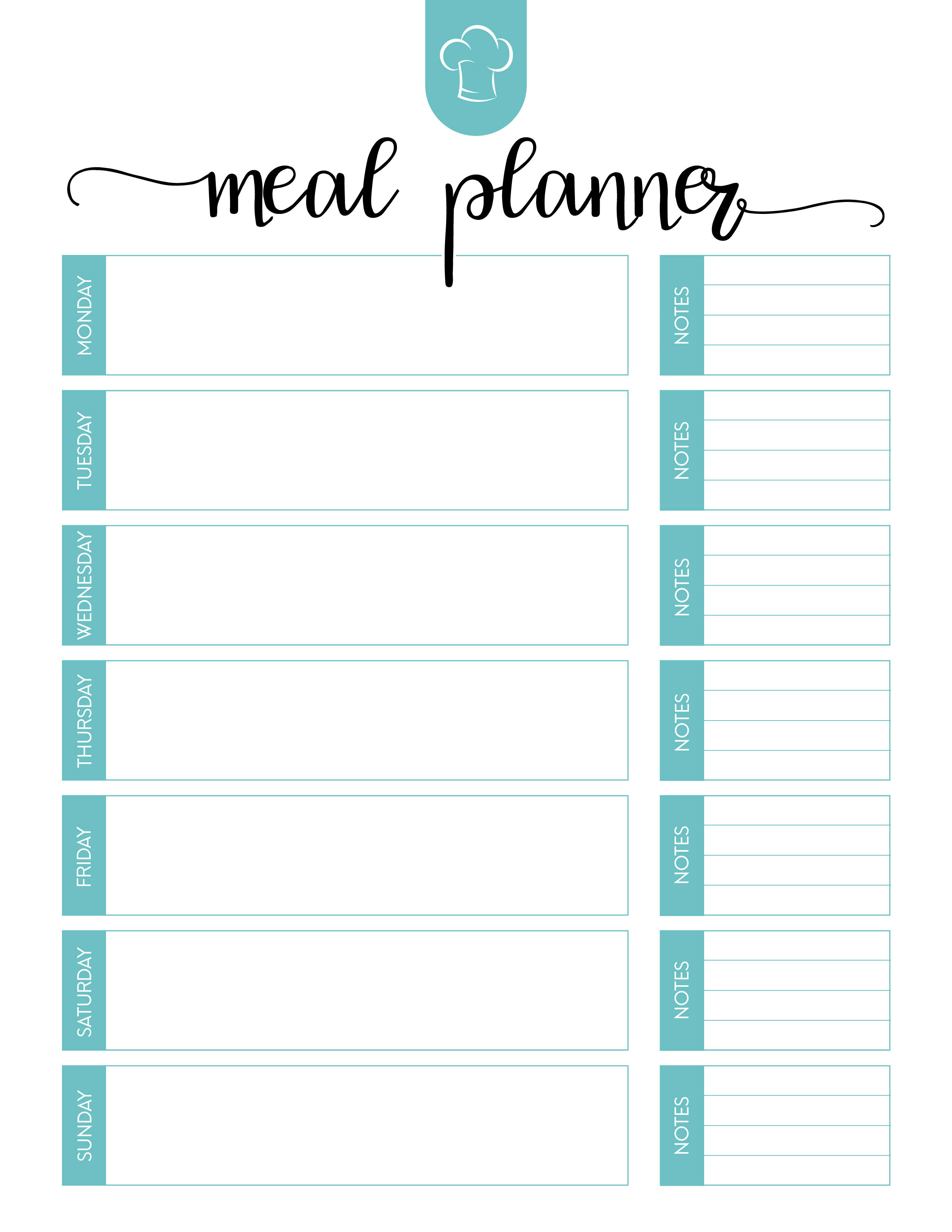 Free Printable Meal Planner Set - The Cottage Market - Free Printable Menu Planner