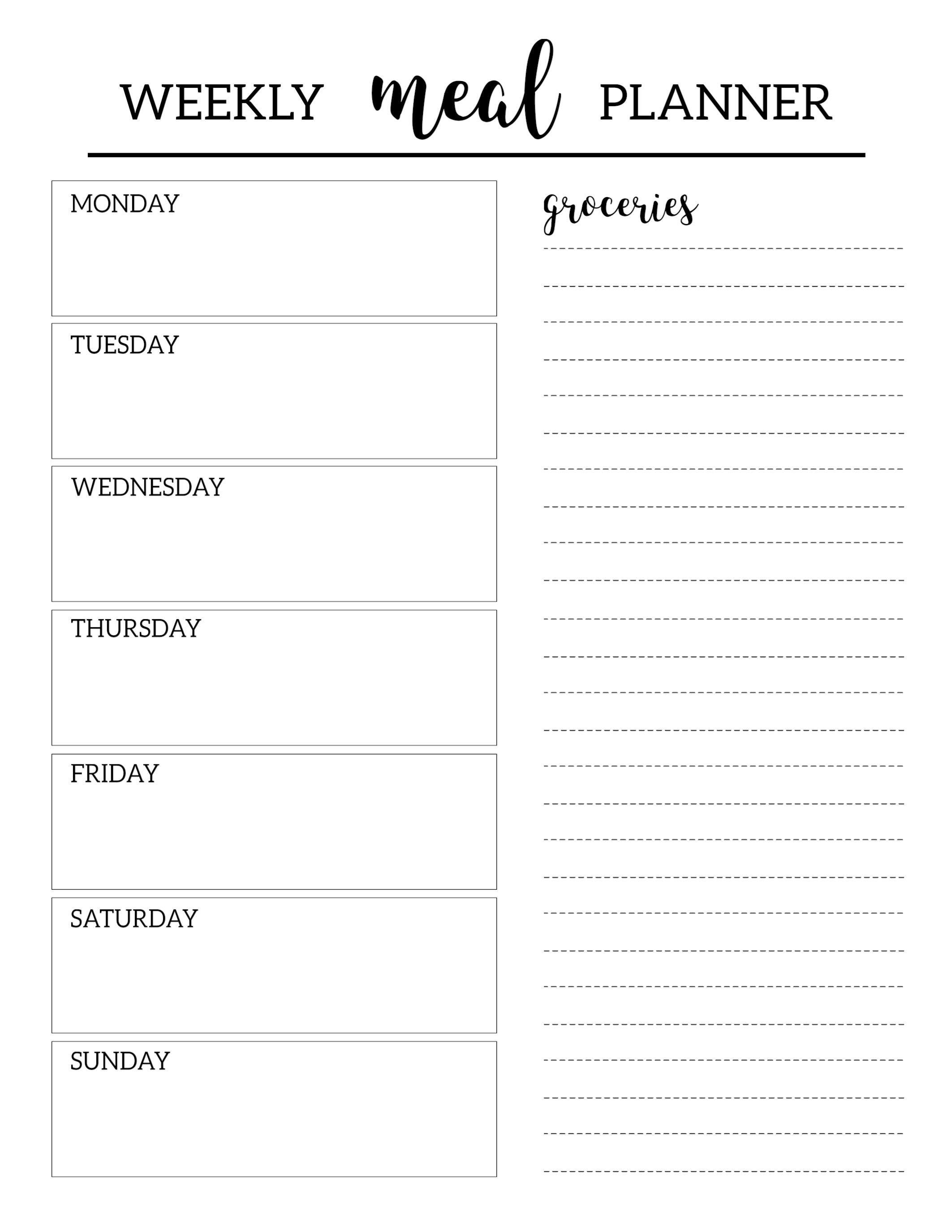 Free Printable Meal Planner Template   Organization   Pinterest - Free Printable Weekly Dinner Menu Planner