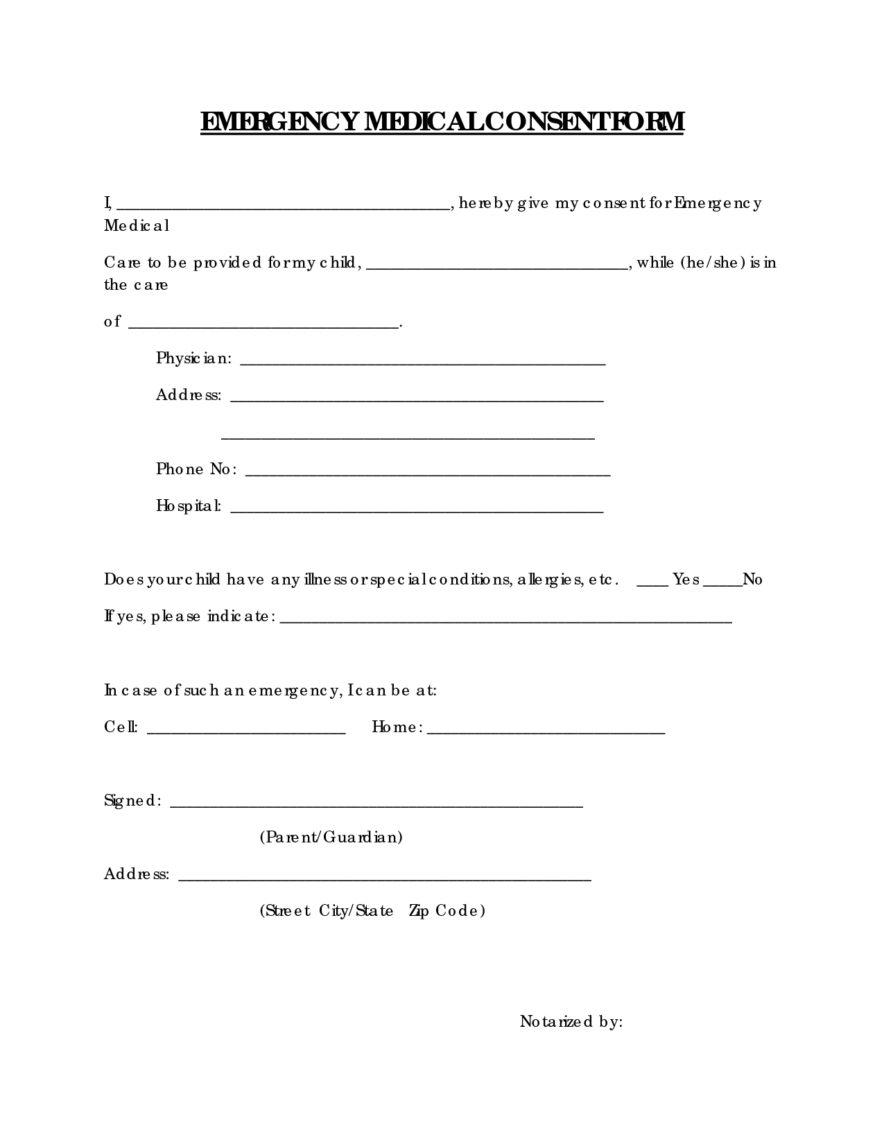 Free Printable Medical Consent Form | Emergency Medical Consent Form - Free Printable Child Medical Consent Form