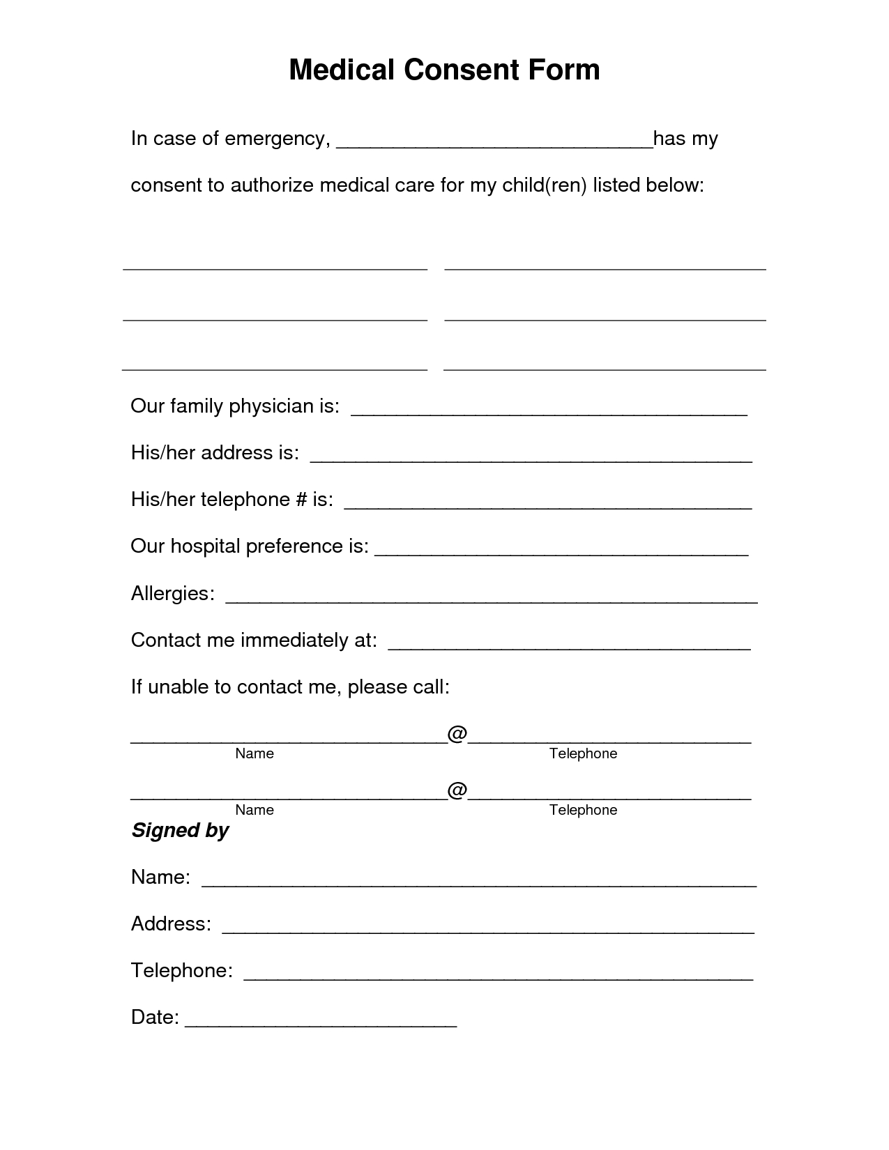 Free Printable Medical Consent Form | Free Medical Consent Form - Free Printable Caregiver Forms