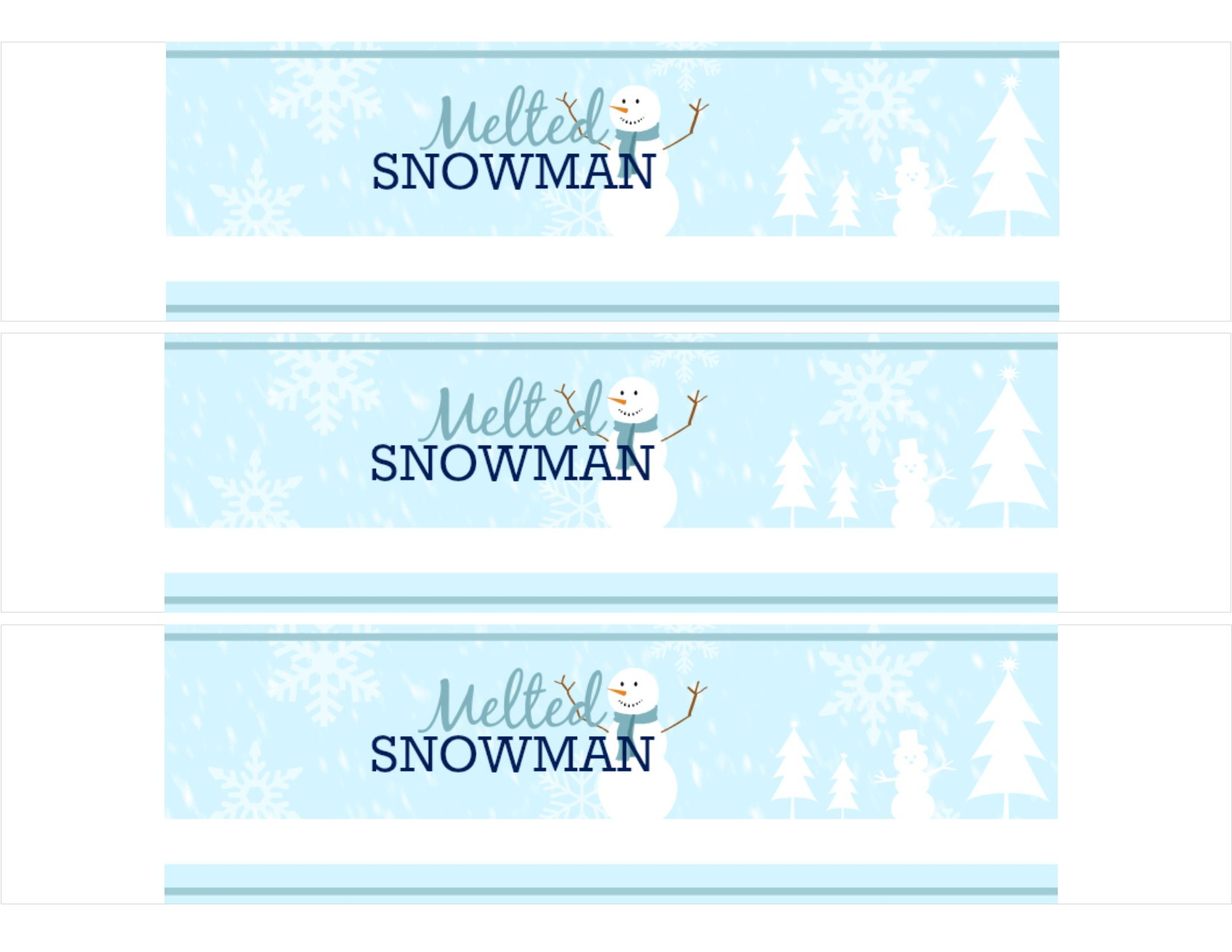 Free Printable: Melted Snowman Water Bottle Labels - Shesaved® - Free Printable Water Bottle Labels