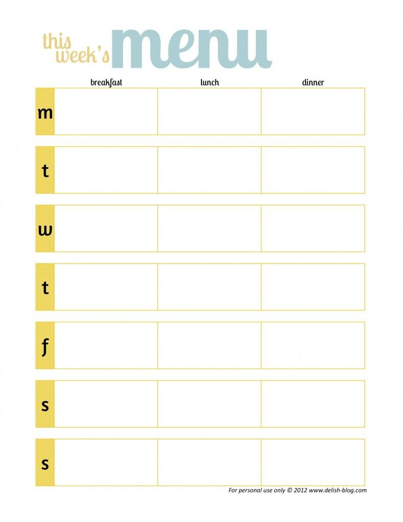 Free Printable Menu Planners -Has One Without Days Of The Week - Free Printable Menu Templates