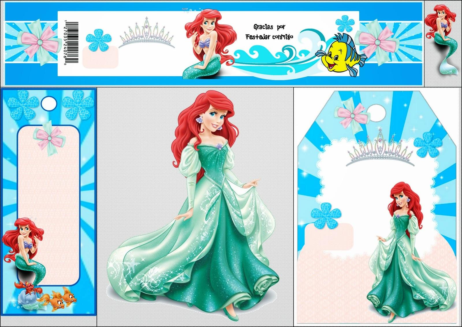 Free Printable Mini Kit For Your Little Mermaid Party.   Oh My - Free Printable Little Mermaid Water Bottle Labels