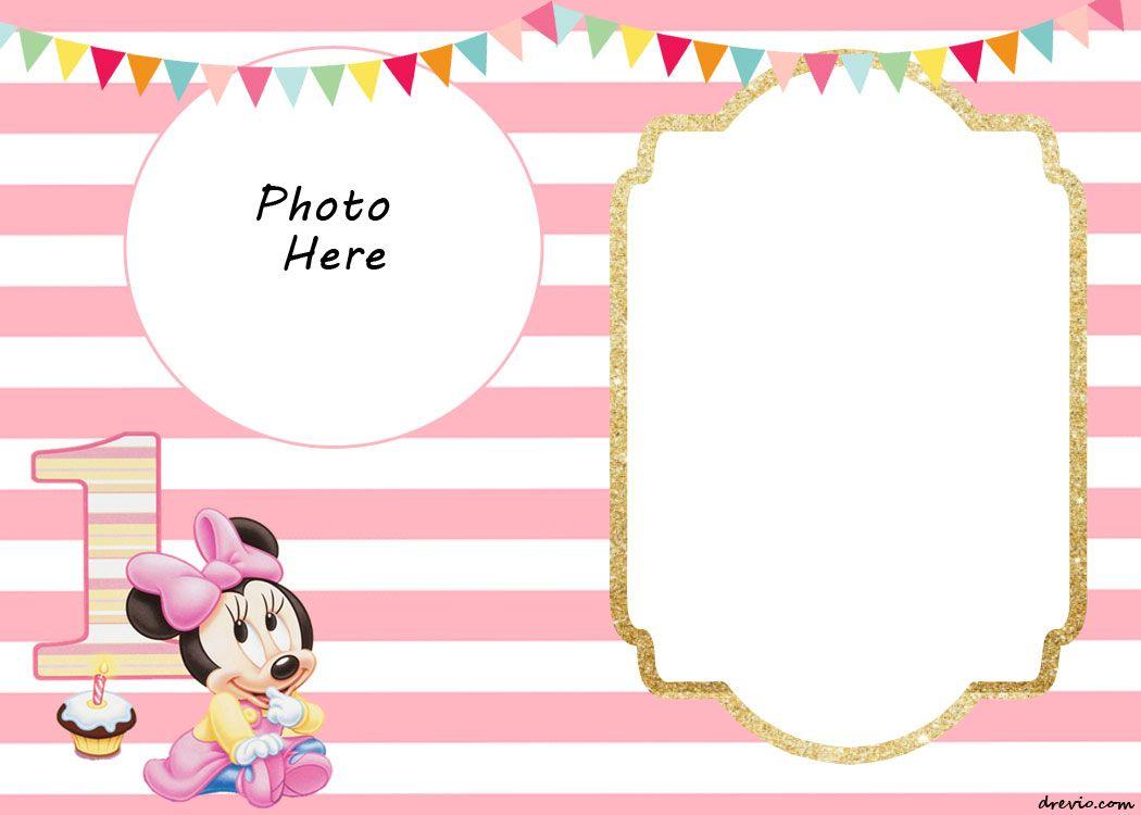 Free Printable Minnie Mouse 1St Invitation | Free Printable - Free Printable Mickey Mouse Birthday Invitations