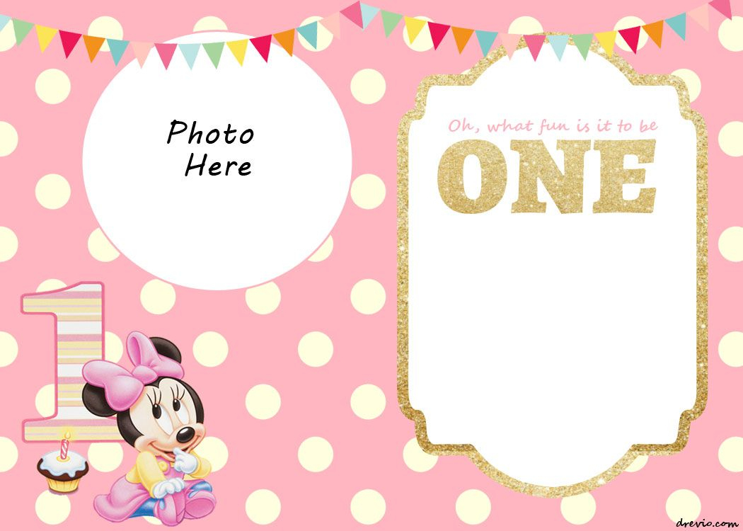 Free Printable Minnie Mouse 1St Invitation | Free Printable - Free Printable Minnie Mouse Party Invitations