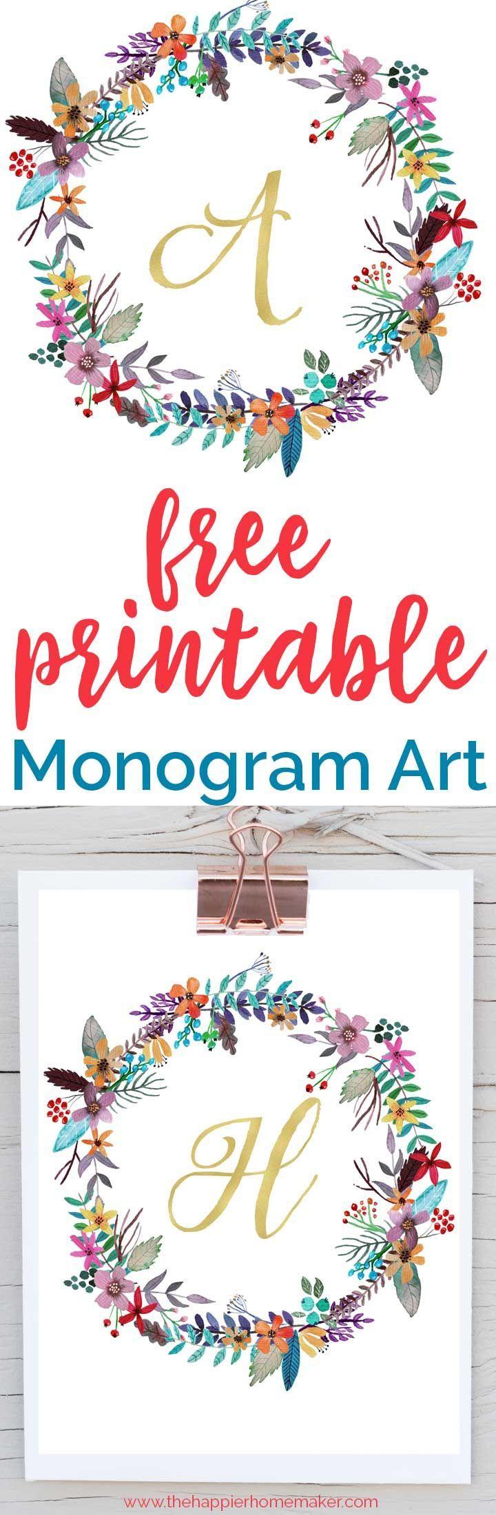 Free Printable Monogram Art | Free Printables | Pinterest | Free - Free Printable Monogram Letters