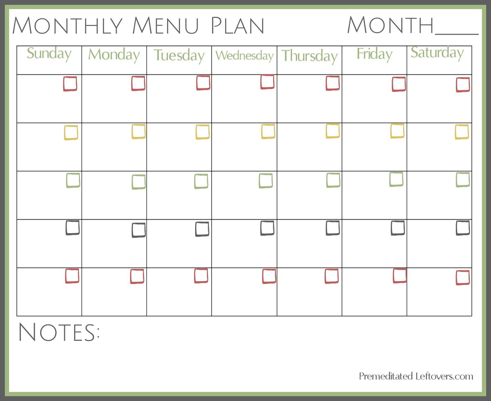 Free Printable Monthly Menu Plan   Printable Forms, Etc.   Pinterest - Free Printable Monthly Meal Planner