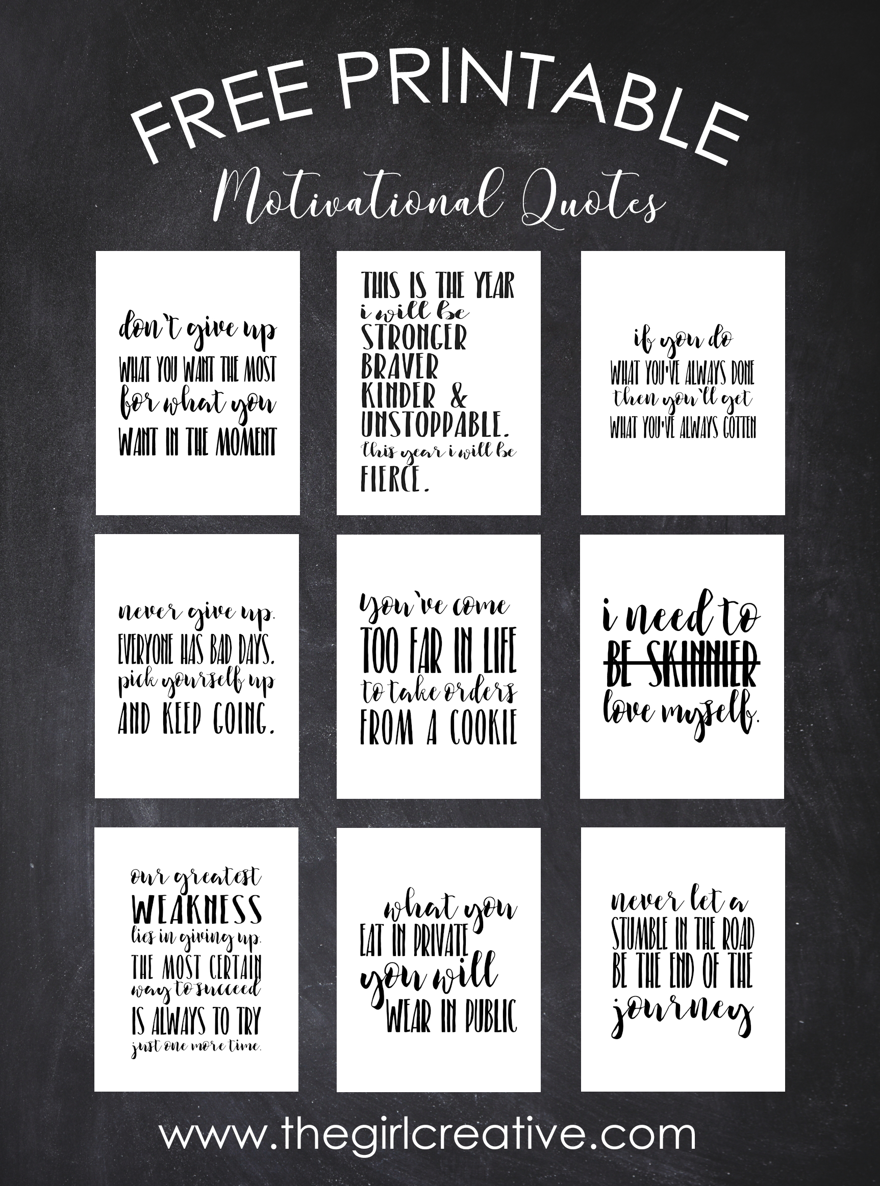 Free Printable Motivational Quotes - The Girl Creative - Free Printable Testing Signs
