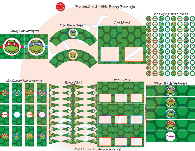 Free Printable Ninja Turtles Name Tags Party Pinterest - Free Printable Tmnt Food Labels