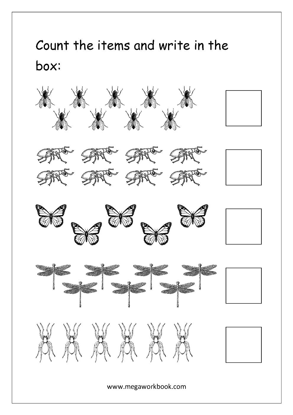 Free Printable Number Counting Worksheets - Count And Match - Count - Free Printable Counting Worksheets 1 10