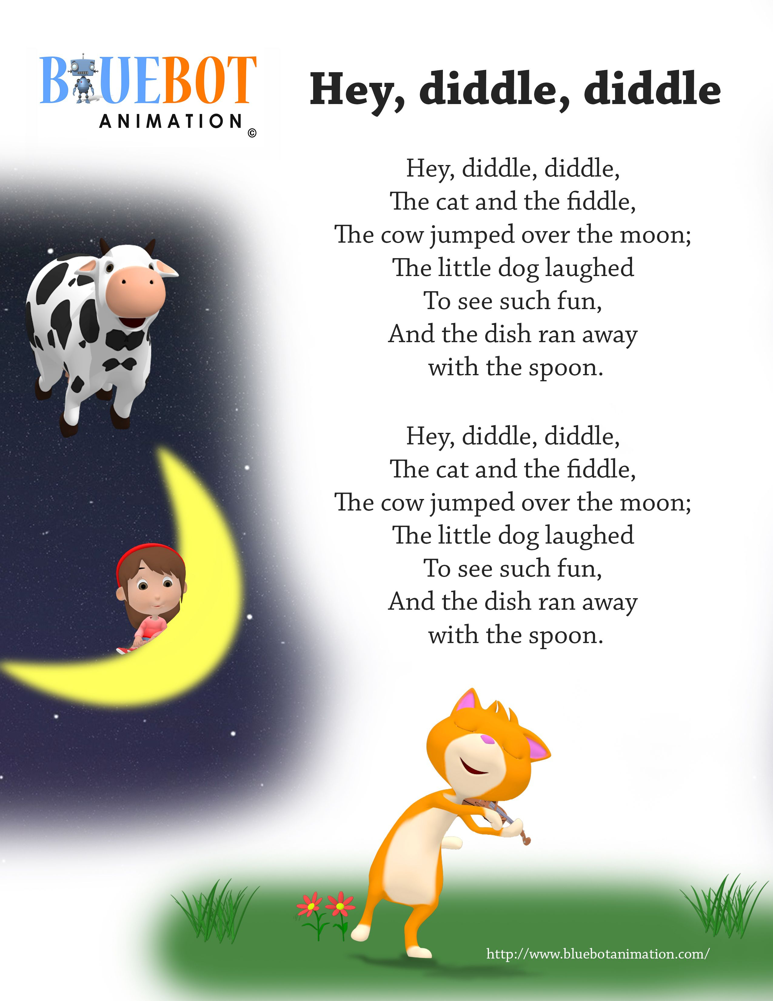 Free Printable Nursery Rhyme Lyrics Page. , Hey Diddle Diddle, Hey - Free Printable Nursery Rhymes Songs