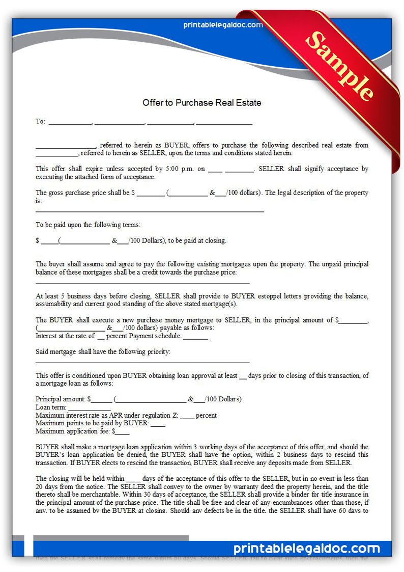 Free Printable Offer To Purchase Real Estate Legal Forms   Free - Free Printable Real Estate Forms