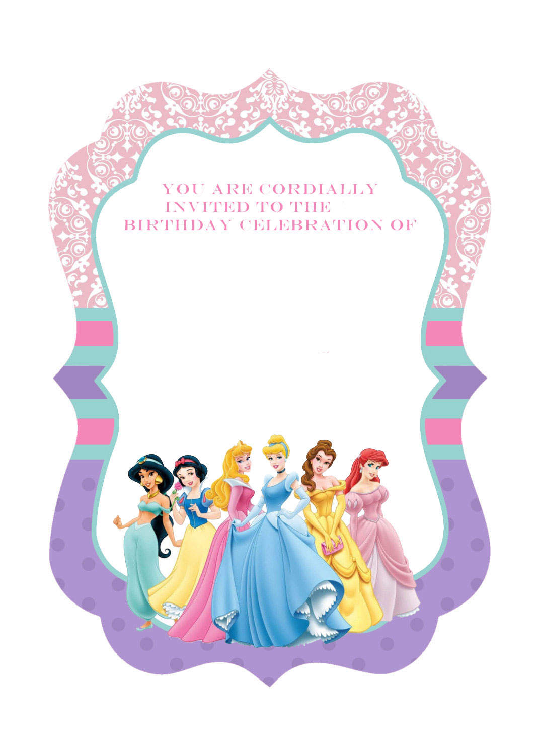Free Printable Ornate Disney Princesses Invitation Template Trend - Disney Princess Free Printable Invitations