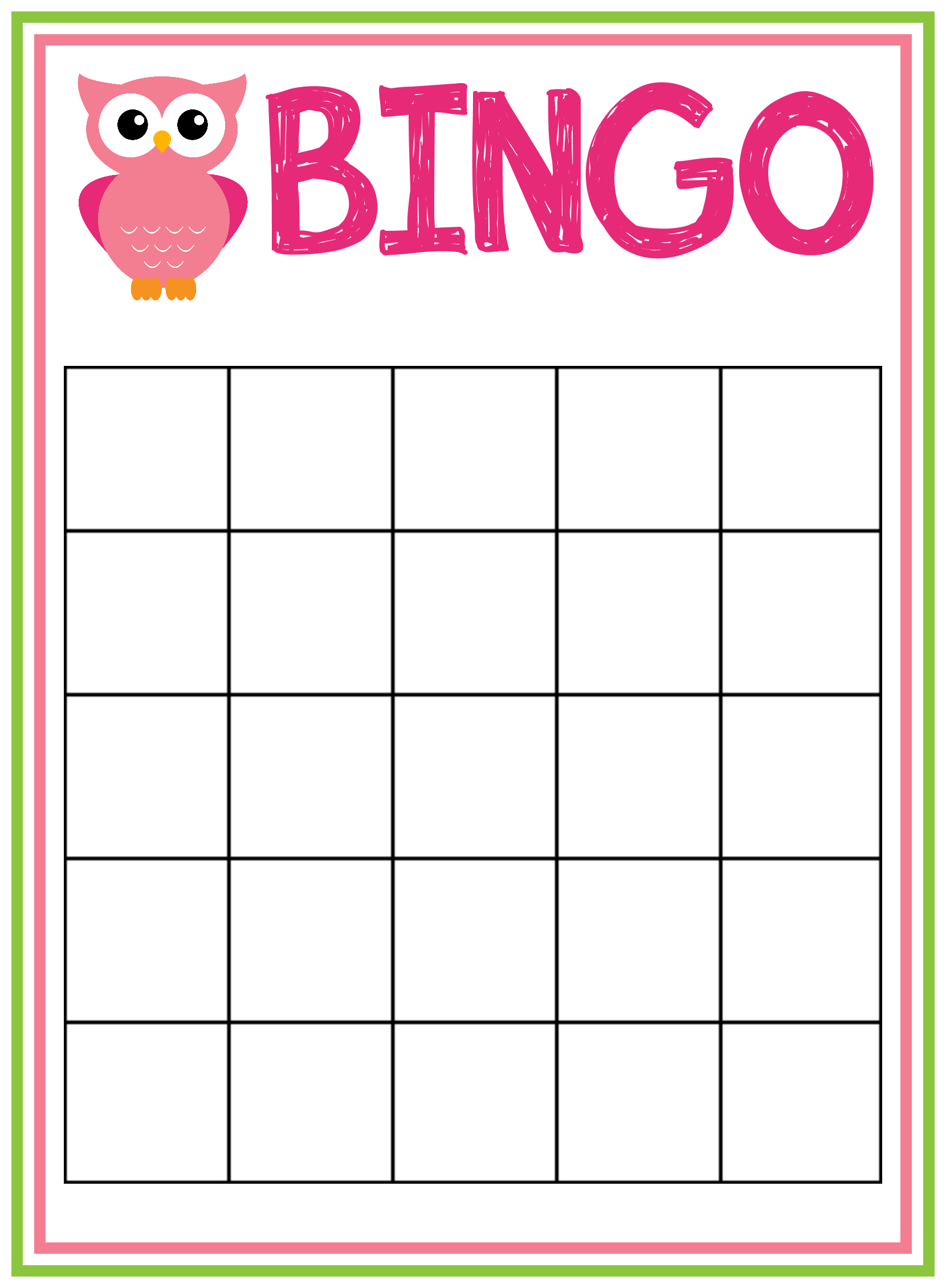 Free Printable Owl Baby Shower Invitations {& Other Printables - Baby Bingo Free Printable Template