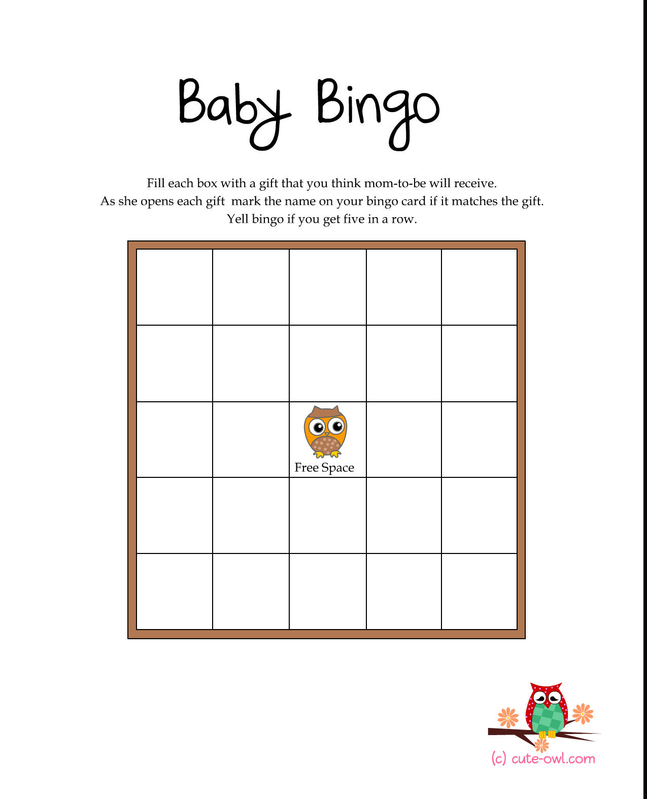 Free Printable Owl Themed Baby Shower Games | Woodland Animal Themed - Free Printable Baby Shower Bingo Cards