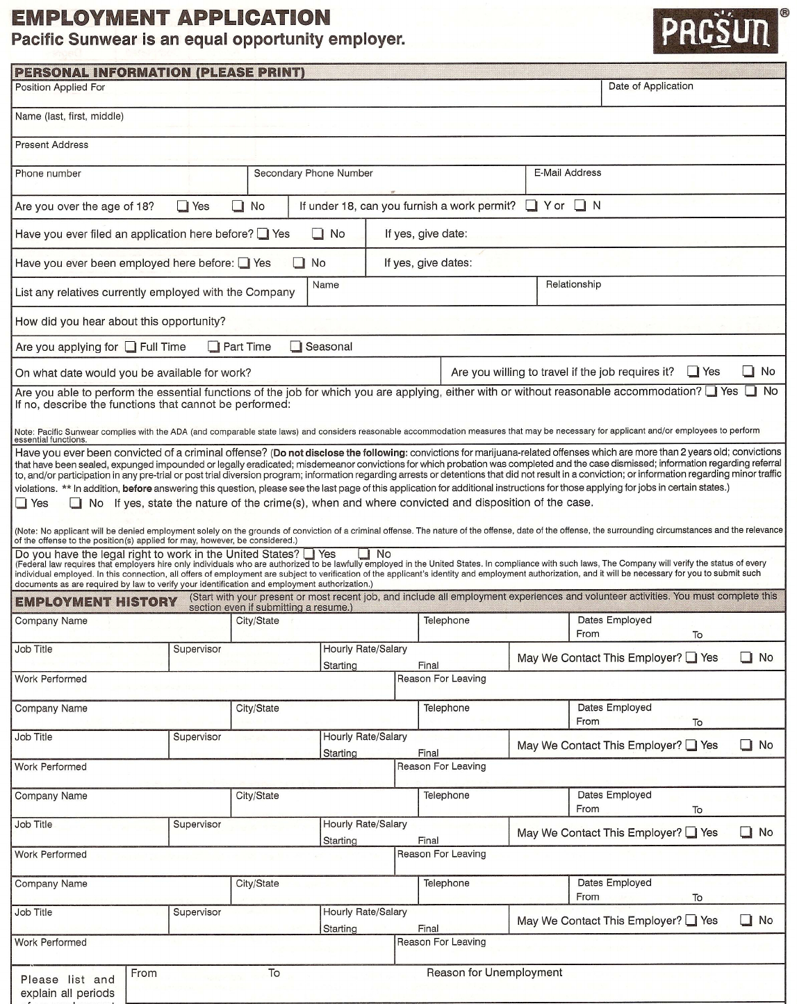 Free Printable Pacsun Job Application Form - Free Printable Job Application Form Pdf